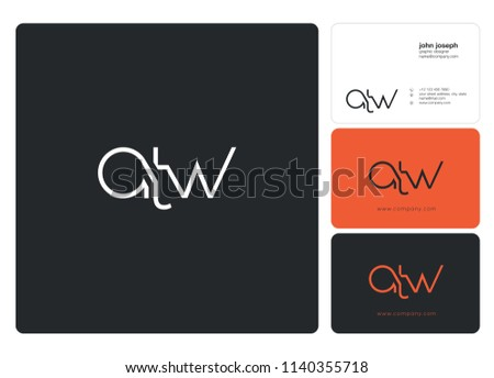 Letters ATW Joint logo icon with business card vector template.  Zdjęcia stock ©