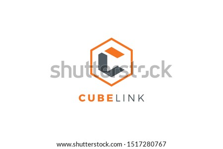 Letters C and L logo formed cube object with orange color Stock fotó ©