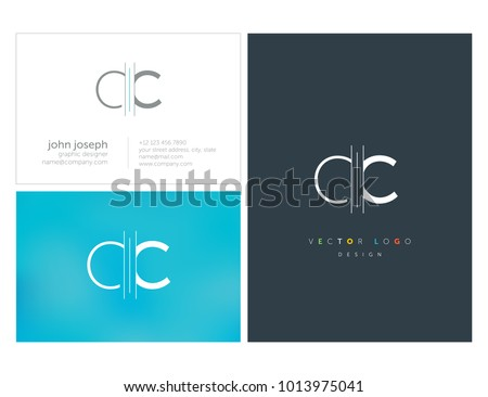 Letters C C, C & C joint logo icon with business card vector template.