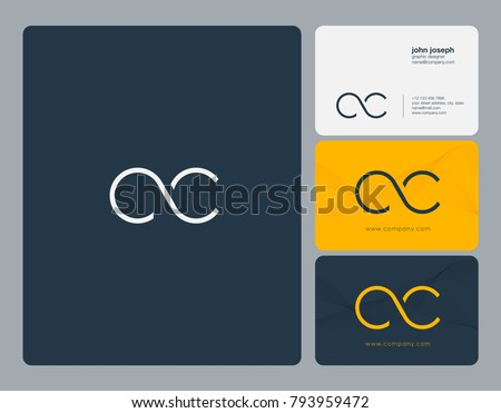 Letters C C, C&C joint logo icon with business card vector template.