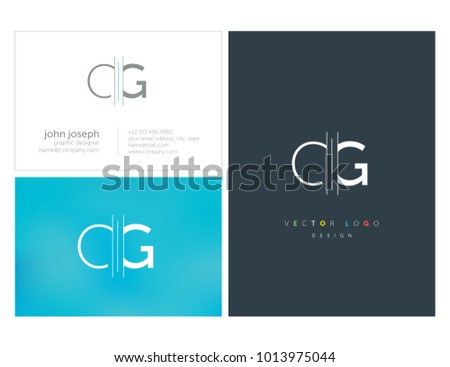 Letters C G, C & G joint logo icon with business card vector template.  Stock fotó ©