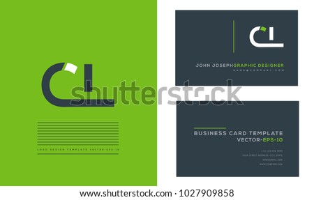 Letters C L, C & L joint logo icon with business card vector template. Stock fotó ©