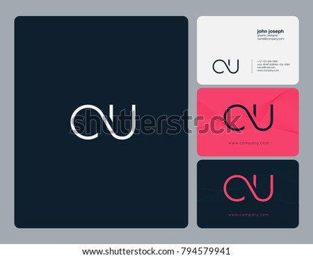 Letters C U, C&U joint logo icon with business card vector template.  Foto stock ©