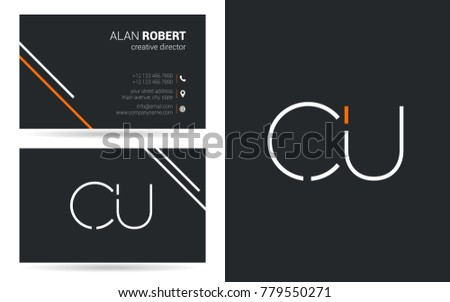 Letters c u stroke logo icon with business card template vector