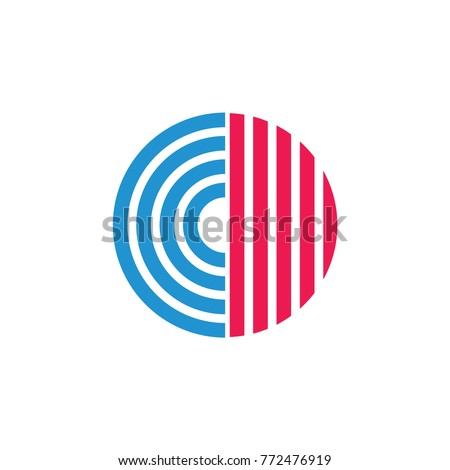 letters cd stripes circle logo vector