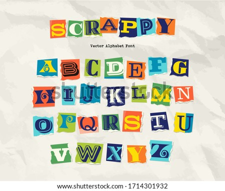 Letters cut and torn from magazine on wrinkled paper background. Design elements for creative typography, scrapbooking, cards and posters.  Vector Illustration. Foto stock ©