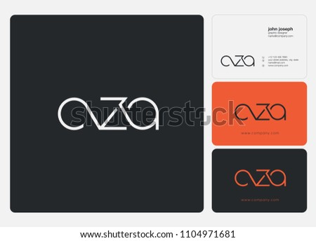 Letters CZA, C Z A logo icon with business card vector template. Zdjęcia stock ©