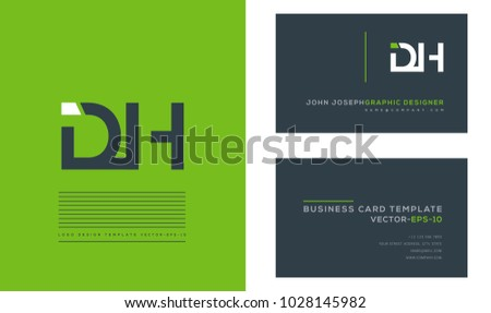 Letters D H, D & H joint logo icon with business card vector template.  Stock fotó ©