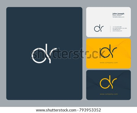 Letters D R, D&R joint logo icon with business card vector template.