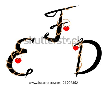 Letters decorated with twig and heart against the white background