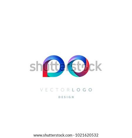 Letters DO, D&O logo, multi colour letters icon vector template.   Foto stock ©