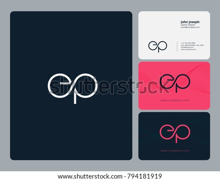 Letters E P, E&P joint logo icon with business card vector template.