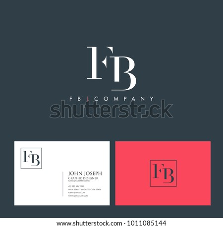 Letters F B, F & B joint logo icon with business card vector template.  Stock fotó ©