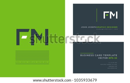 Letters F M, F & M joint logo icon with business card vector template. Stock fotó ©