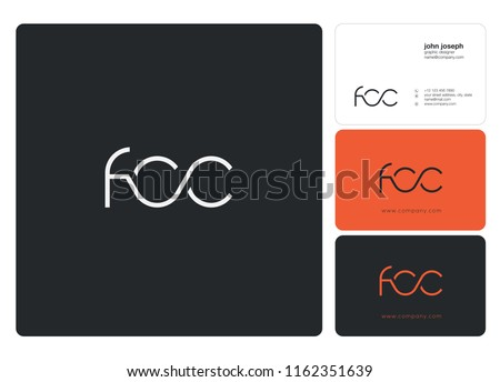 Letters FCC Joint logo icon with business card vector template.