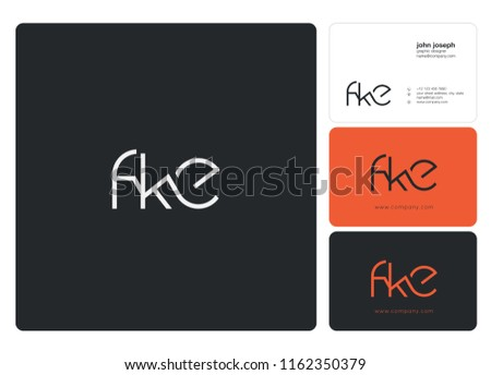 Letters FKE Joint logo icon with business card vector template. Stok fotoğraf ©