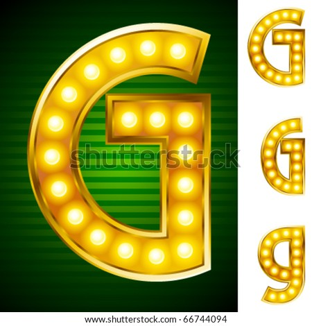 Letters for signs with lamps. Letter g