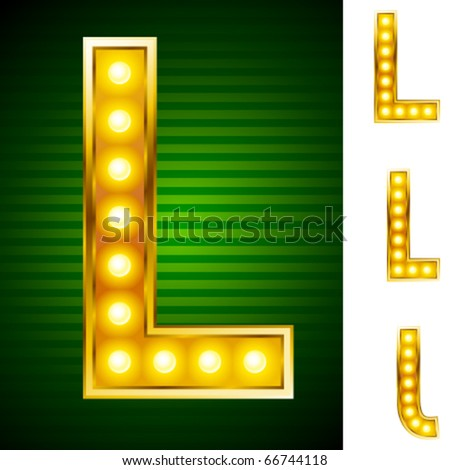 Letters for signs with lamps. Letter l
