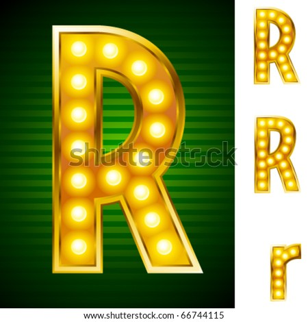 Letters for signs with lamps. Letter r