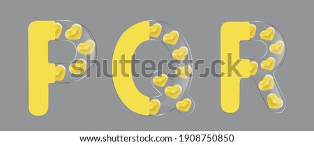 Letters for Valentine's Day. The letters P, Q, R. Vector illustration. Glass letter on the half, yellow glass 3D heart. Isolated on a gray background. Yellow color, modern style  Zdjęcia stock ©