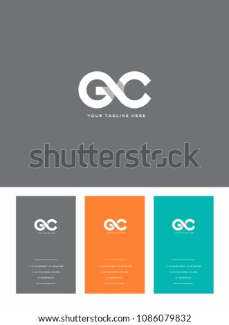 Letters G and C joint logo icon with business card vector template.  Stock fotó ©