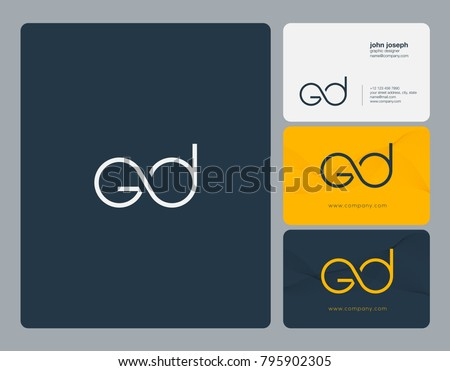 letters g d gd joint logo icon with business card vector template