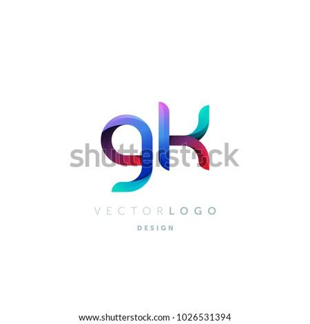 Letters G K, G & K logo, multi colour letters icon vector template. Stock fotó ©