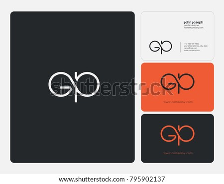 Letters G P, G&P joint logo icon with business card vector template.
