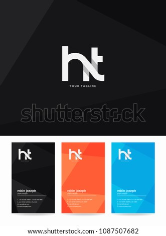 Letters H T logo, emblem or icon with business card vector template. Stock fotó ©