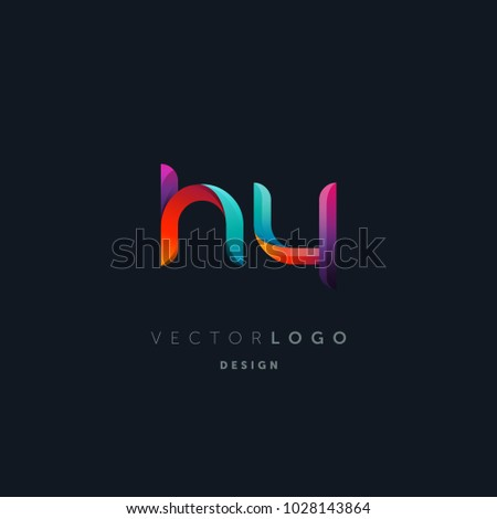 Letters H Y, H & Y logo, multi colour letters icon vector template.