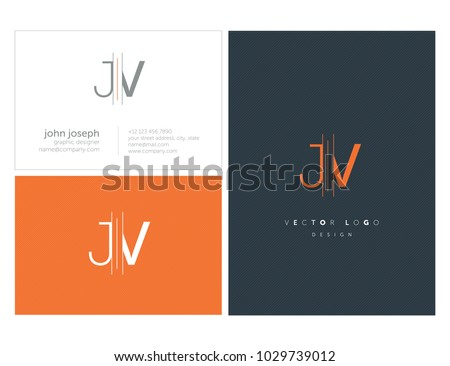 Letters J V, J & V joint logo icon with business card vector template.   Stock fotó ©