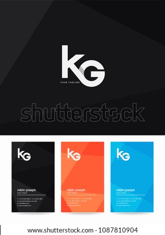 Letters K & G logo, icon with business card vector template. Stock fotó ©