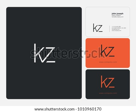 Letters K Z, K & Z joint logo icon with business card vector template. Stok fotoğraf ©