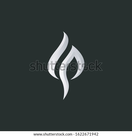 Letters LP or PL logo monogram, drop water or gas flame burn logo combination two letters L and P or P and L initials, minimal style LP or PL identity mark emblem black and white design Stock fotó ©