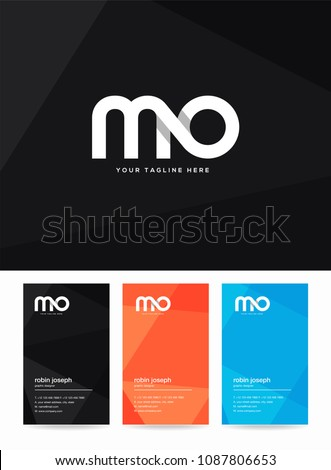 Letters M & O logo, icon with business card vector template. Foto stock ©
