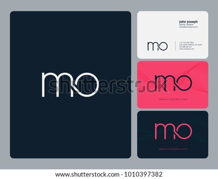 Letters M O, M & O joint logo icon with business card vector template. Foto stock ©