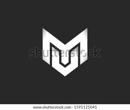 Letters MU or MV logo monogram, combination two letters M and U or M and V initials, minimal style MU or MV identity mark emblem black and white design Stock fotó ©