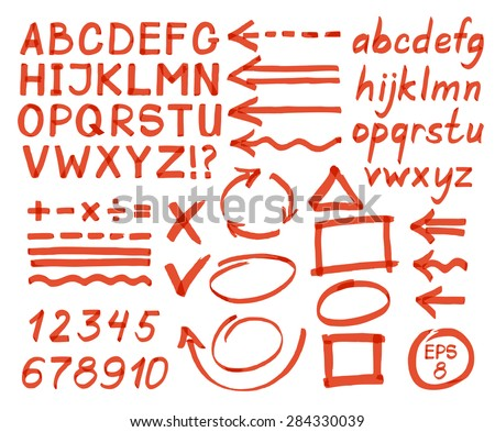 Letters, numbers, arrows, mathematical symbols, lines, written in red marker. Vector.