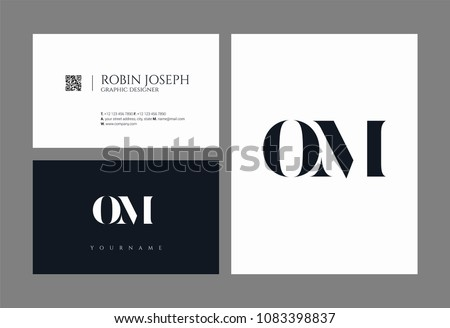 Letters O M, O & M joint logo icon with business card vector template. Foto stock ©
