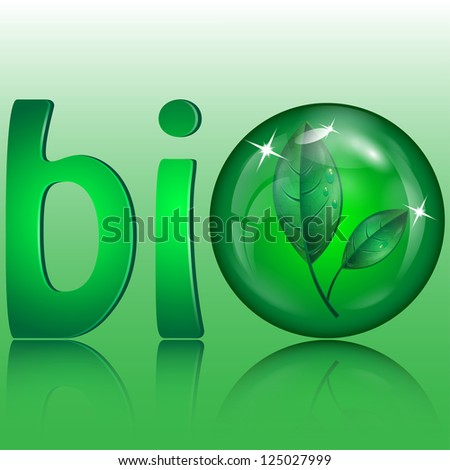 letters of green color and green sphere with leaves inwardly