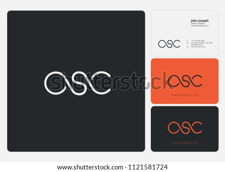Letters OSC logo icon with business card vector template.