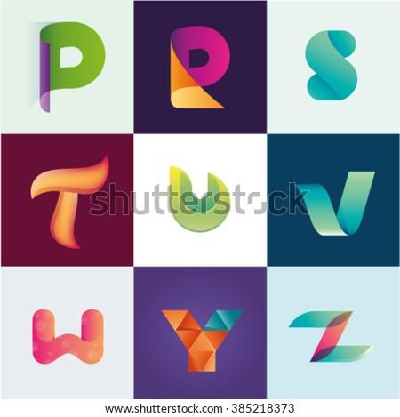 Letters P R S T U V W Y Z set of logo idea realistic Stock fotó ©