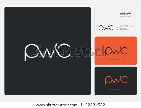 Letters PWC logo icon with business card vector template.