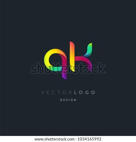 letters q   k logo  multi