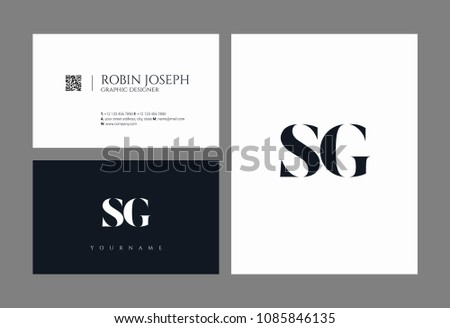 letters s and g joint logo icon with business card vector template
