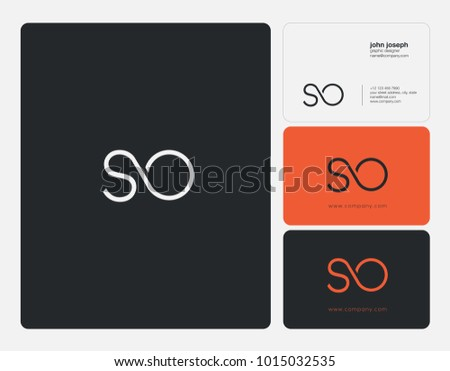 Letters S O, S & O joint logo icon with business card vector template.  Zdjęcia stock ©