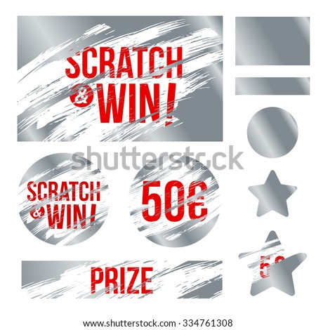 Letters scratch and win. With effect from scratch marks. Suitable for scratch card game and win. vector