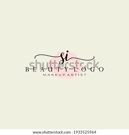 Letters SI, Watercolor Lips, Premade Logo Design, Logo for Makeup Artist Business Branding, Blush Beauty Boutique Logo Design, Calligraphy Logo Foto stock ©