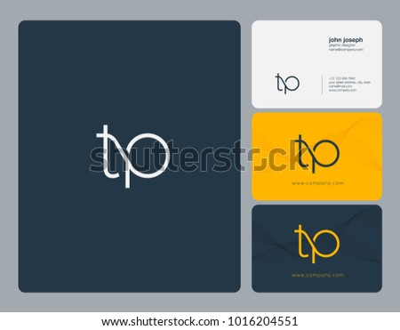 Letters T P, T & P joint logo icon with business card vector template.  Stock fotó ©