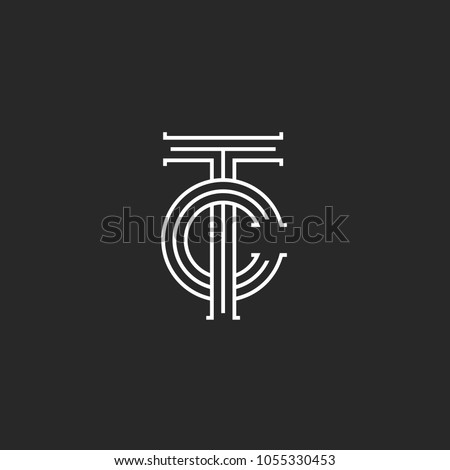 Letters TC logo monogram, overlapping thin lines CT initials emblem, linear style two letters T and C combination